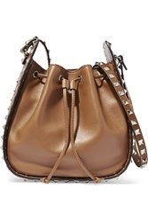 Valentino The Rockstud Bucket Leather Shoulder Bag Tan