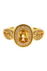 Olivia Leone Oval Citrine And Cz Halo Loop Shoulder Ring Yellow