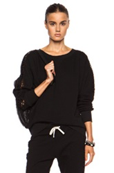 Pam And Gela Dolman Sleeve Cotton Blend Sweatshirt With Lace Inserts In Black
