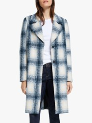 Y.A.S Heather Checked Coat Blue