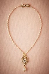 Anthropologie Pearl Drop Pendant Necklace Gold