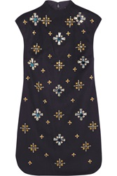 Tory Burch Carlan Embellished Wool Blend Felt Mini Dress
