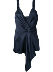 Victoria Beckham Wrap Front Pleated Top Women Silk 10 Blue
