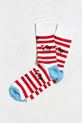 Urban Outfitters Where's Waldo Sock Red Multi