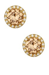 Savvy Cie 18K Yellow Gold Round Citrine And Cz Halo Stud Earrings Beige