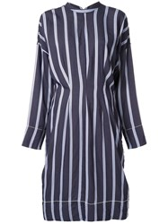 Bassike Stripe Long Sleeve Dress Blue