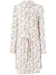 Essentiel Antwerp Floral Belted Shirt Dress Pink And Purple