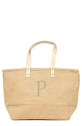 Cathy's Concepts 'Nantucket' Personalized Jute Tote Beige Natural P