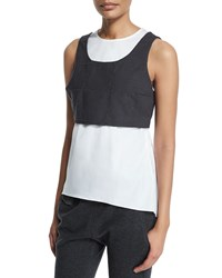 Brunello Cucinelli Jewel Neck Monili Trim Windowpane Vest Tank Charcoal Grey Women's