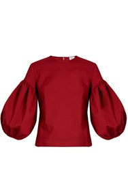 Rosie Assoulin Puff Sleeved Technical Stretch Top Red