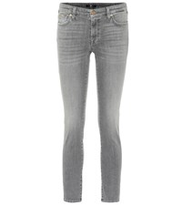 7 For All Mankind Pyper Cropped Mid Rise Skinny Jeans Grey