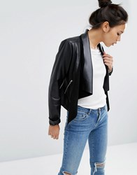 Asos Leather Waterfall Jacket Black