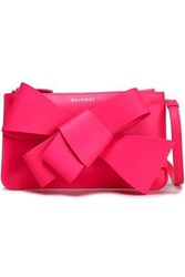 Delpozo Bow Embellished Leather Clutch Bright Pink