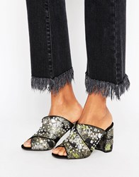 Miss Selfridge Embellished Heeled Mule Metallic Multi