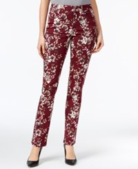 Charter Club Lexington Tummy Control Printed Straight Leg Jeans Only At Macy's Smoky Claret Combo