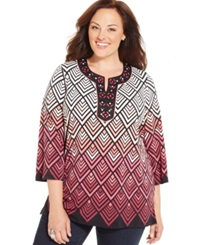 Jm Collection Woman Jm Collection Plus Size Beaded Chevron Print Tunic Only At Macy's Merlot Charm Chevron