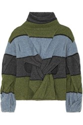 J.W.Anderson Jw Anderson Cutout Twisted Striped Wool Turtleneck Sweater Army Green