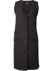 Yang Li Checked Sleeveless Jacket Brown