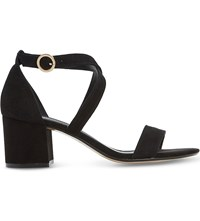 Dune Montie Criss Cross Suede Sandals Black Suede