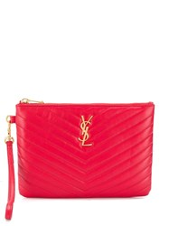 Saint Laurent Quilted Logo Pouch Red