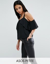 Asos Petite Thick Strap Cami With Tie Cold Shoulder Black
