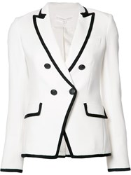 Veronica Beard Double Breasted Contrast Blazer White