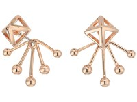 Rebecca Minkoff Pyramid Fan Back Ear Jacket Earrings Rose Gold Earring
