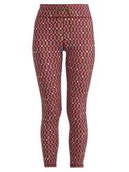 The Upside Diamond Print Cropped Leggings Burgundy White