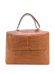 Orciani Large Croc Effect Tote Bag Brown