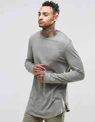 Asos Relaxed Longline Long Sleeve T Shirt With Curve Hem And Hem Zips In Khaki Green