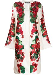 Dolce And Gabbana Floral Print Beaded Coat White