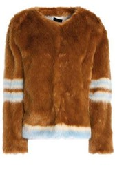 Mother Intarsia Faux Fur Jacket Light Brown