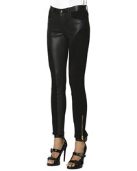 Emilio Pucci Leather Panel Zip Ankle Leggings Nero Black