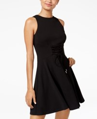 Teeze Me Juniors' Lace Up Fit And Flare Dress Black