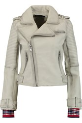 Marc By Marc Jacobs Washed Leather Biker Jacket Gray Green