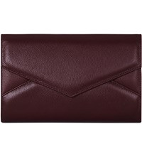 Mon Purse Triangle Envelope Leather Clutch Burgundy
