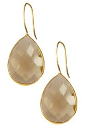 Saachi Faceted Smoky Topaz Drop Earrings Beige