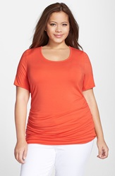 Lysse 'Marias' Scoop Neck Tee Plus Size Red Coral