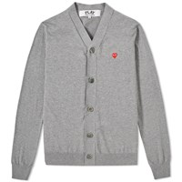 Comme Des Garcons Play Little Red Heart Cardigan Grey