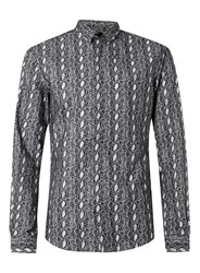 Topman Noose And Monkey Black And White Snake Skin Print Shirt