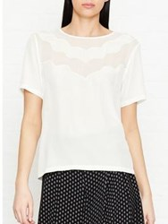 Reiss Hartley Silk Front Scallop Detail T Shirt Off White