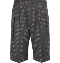 Wooster Lardini Grey Polka Dot Wool Shorts Gray