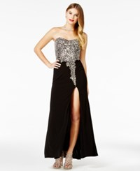 Crystal Doll Juniors' Embellished Strapless Gown Black Silver