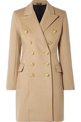 Balmain Double Breasted Wool And Cashmere Blend Coat Beige