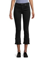 Design Lab Lord And Taylor Cropped Ruffle Hem Jeans Black