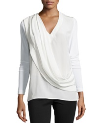 Nicole Miller Liam Enzyme Washed Silk Draped Top Ivory
