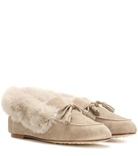 Loro Piana Chalet Fur Trimmed Suede Slippers Beige