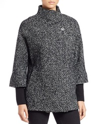 Calvin Klein Asymmetrical Tweed Jacket Black White