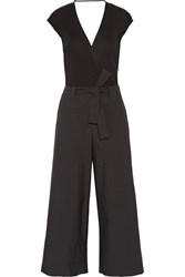 Brunello Cucinelli Belted Ribbed Cotton And Gazar Jumpsuit Black