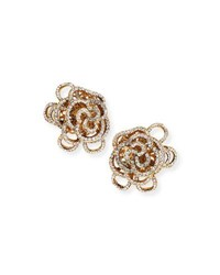 Jose And Maria Barrera Crystal Flower Clip On Earrings Gold